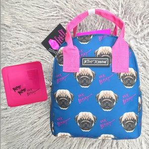 Betsey Johnson Pug Royal Blue Dog Lunch Bag Tote
